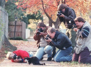 Paparazzi surrounding Mr. Socks, Bill Clinton's cat (Summer of 1992)